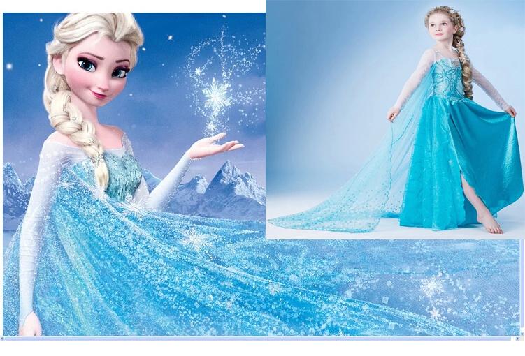 2014 new frozen elsa dress up gown costume ice princess queen anna