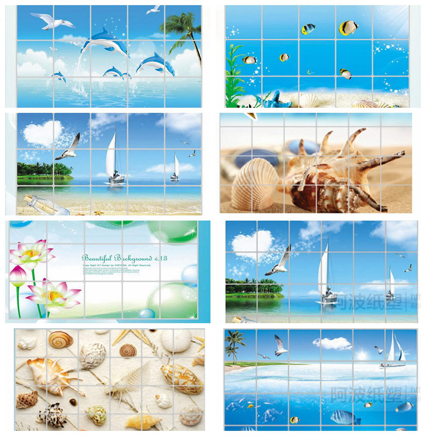 Waterproof bathroom tile aluminum foil wall sticker home decor wall sticker dolphin fish beach ocean shell sailing drinks flower(China (Mainland))