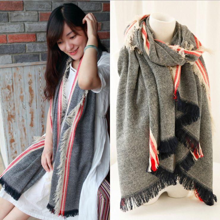 2014 NEW HOT Fashion Muffler Elegant Shawl Wrap Long Range Scarf Stripe Free Shipping scarf women Large Pashmina 200*80cm A01W49(China (Mainland))