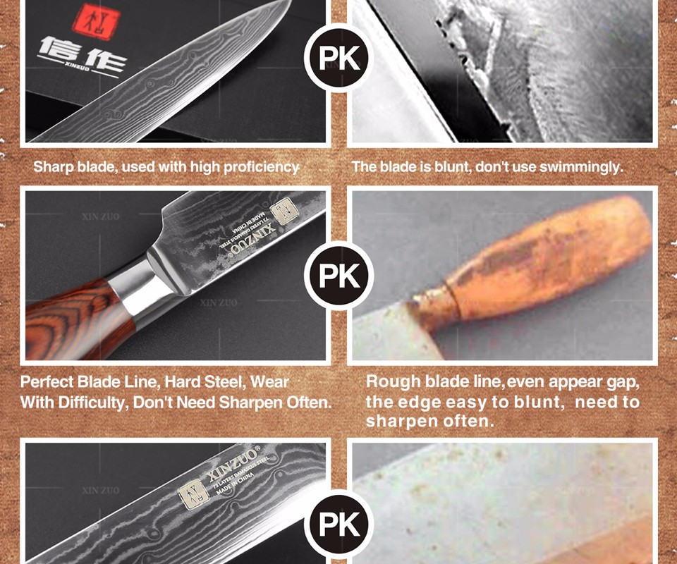 Buy XINZUO 5 pcs Kitchen knife set Japanese Damascus kitchen knife sharp Japanese chef cleaver knife Color wood handle free shipping cheap