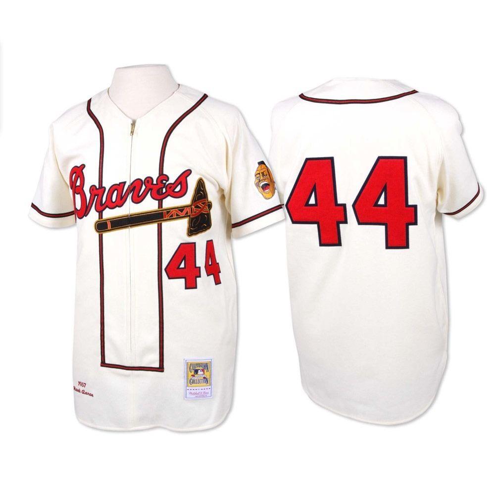 Men's Stitched cheap Atlanta Braves H. Aaron Cooperstown Throwback Jersey 44 Hank Aaron 1957 cream zipper Baseball Jerseys(China (Mainland))