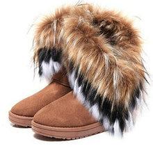 CALIENTE NUEVO Estilo de Diseño 4 color de piel de conejo zorro artificial borla de las mujeres botas de nieve de Altura mujeres zapatos Gota/envío libre SN01(China (Mainland))