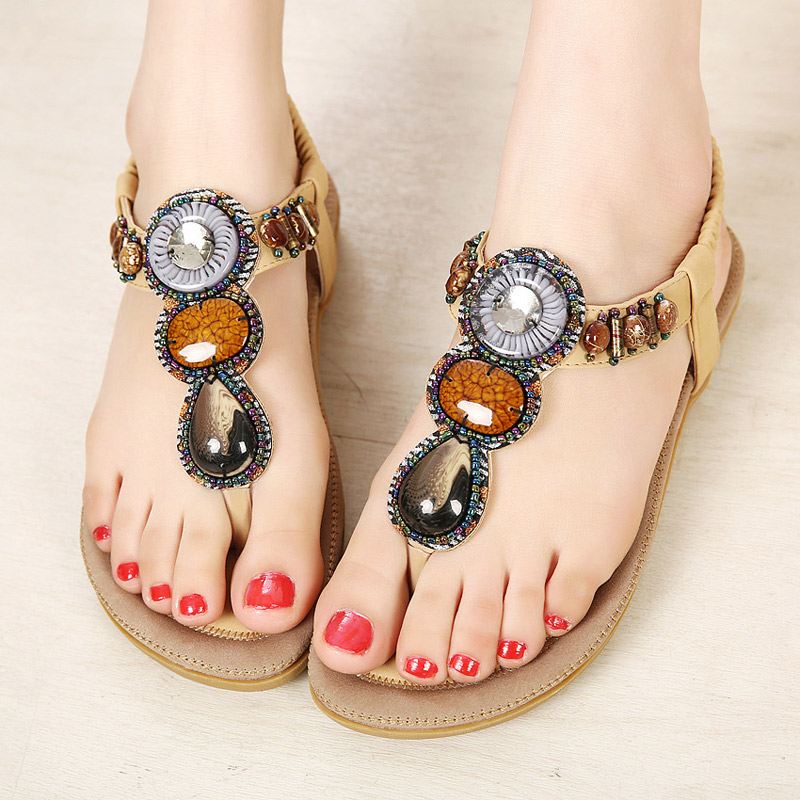 Women sandals breathable women shoes zapatos mujer 2016 new fashion string bead flat Summer ladies sandals <br><br>Aliexpress