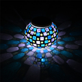 New Solar Powered Mosaic Glass Color Changing Rainbow LED Light Rechargeable Waterproof Night Light for Indoor