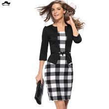 2016 Spring Womens Elegant Faux Twinset Belted Tartan Floral Print Patchwork Wear to Work Business Pencil Sheath Bodycon Dress