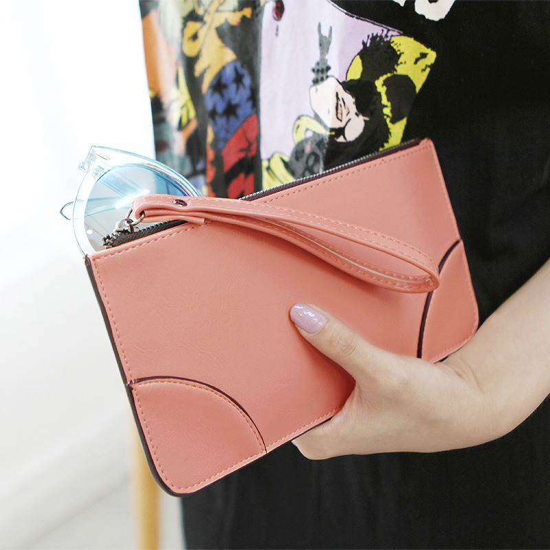 Fashion Women Clutch Purse Candy Color Women Leather Wallet Brand Design High Quality Zipper Female Purse(China (Mainland))