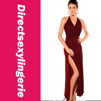 Sexy Fashion Women's Contrasting Reds Maxi Long Dress Graceful Gown Front Slit for Leg Movement LC6129 Maxi Long