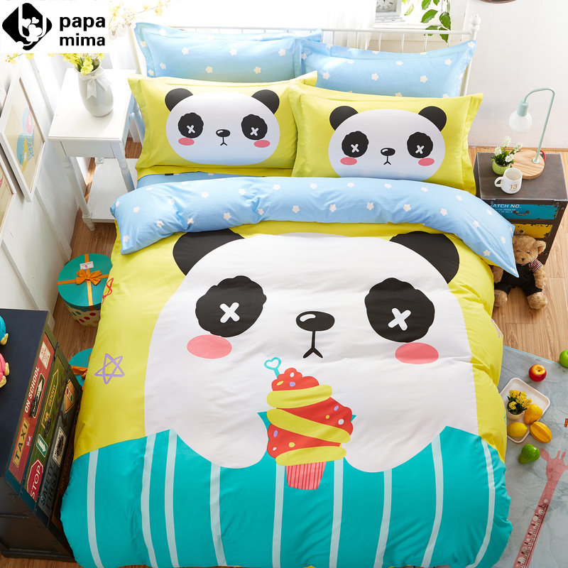 lovely panda ice cream print yellow blue linens bedding 100% cotton Twin/Queen Size duvet cover+bedsheet+pillowcases sheets(China (Mainland))