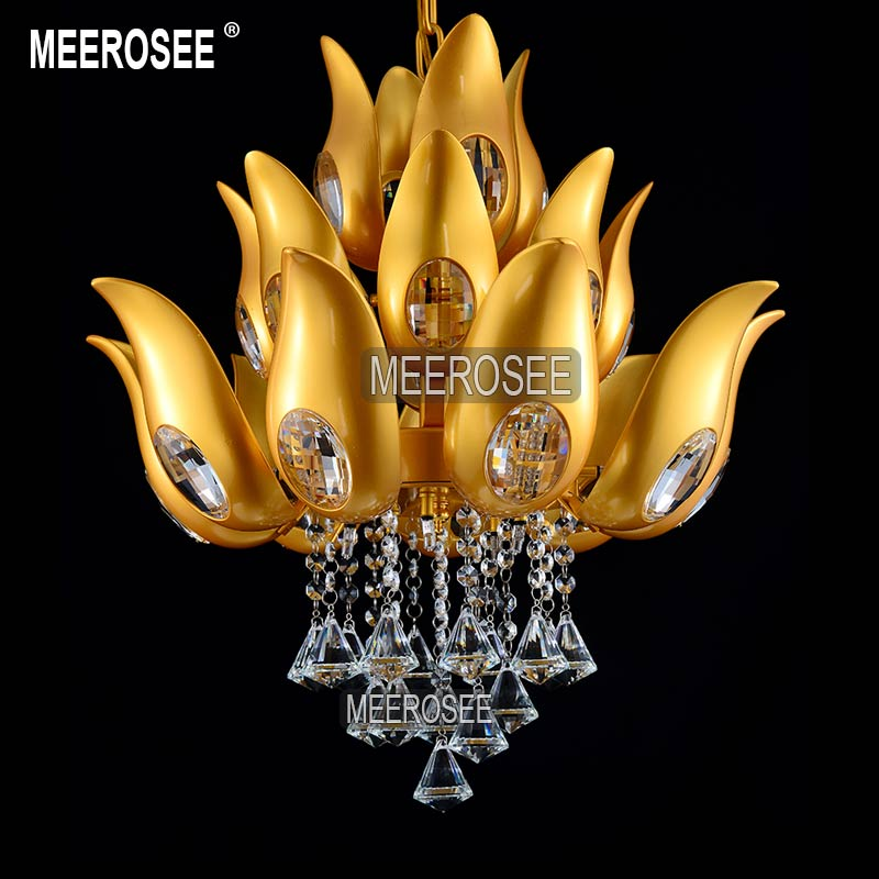 Floral Design Gold Crystal Chandelier light / Lamp/ lighting fixture Gold color Light for Lobby, Foyer, Staircase MD15170<br>