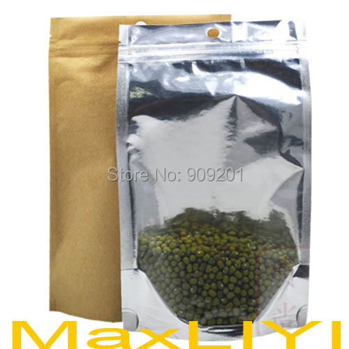 500pcs 10x15cm Wholesale Complex Kraft +Transparent stand up Ziplock Bag, Moisture Reclosable D114a-500(China (Mainland))