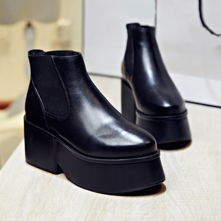 Autumn and winter short cylinder boots with high heels boots shoes Martin boots women ankle boots with thick heel platform shoes