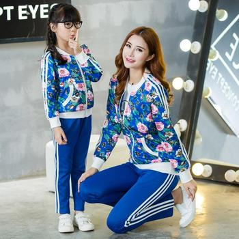 Mother Daughter Matching Clothes Set Family Autumn Long Sleeve Fashion Floral Outfits Mommy Me Jacket Pant Clothing Suit