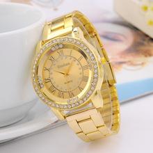 KANIMA Brand Luxury Gold Steel Watch fashion Dress Men women Roman dial diamond Quartz Wristwatch relogio masculino Clock Male