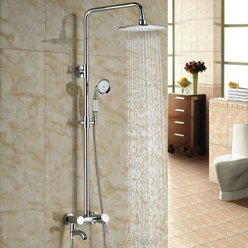 Newly Euro Style Bathroom Shower Faucet Set Chrome Finished 8