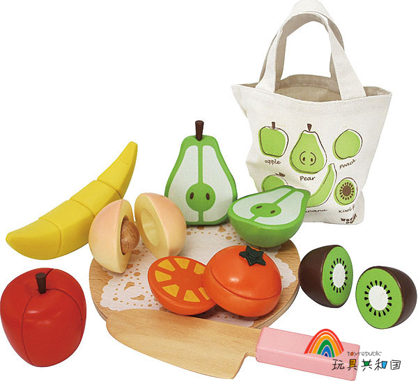Baby Toys Japan Woody Puddy Fruits Magnetic Wooden Toys Food Sets Educational Kitchen Toys Birthday / Christmas Gift(China (Mainland))