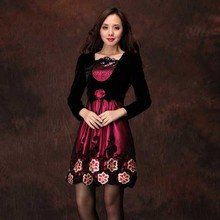 Autumn and winter new arrival middle-age loading elegant mother of the paragraph one-piece dress gold velvet long-sleeve