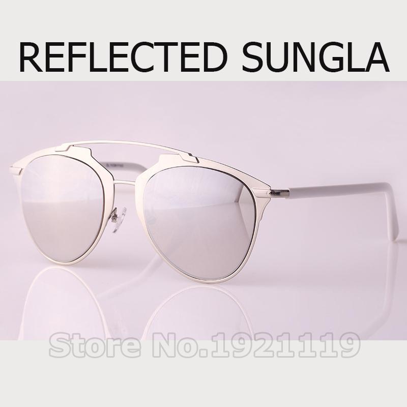 2016 Hot Sale REFLECTED SUNGLA Cat Eye Women Brand Designer Fashion Christian mirror Sunglass Men Coating Sunglasses(China (Mainland))