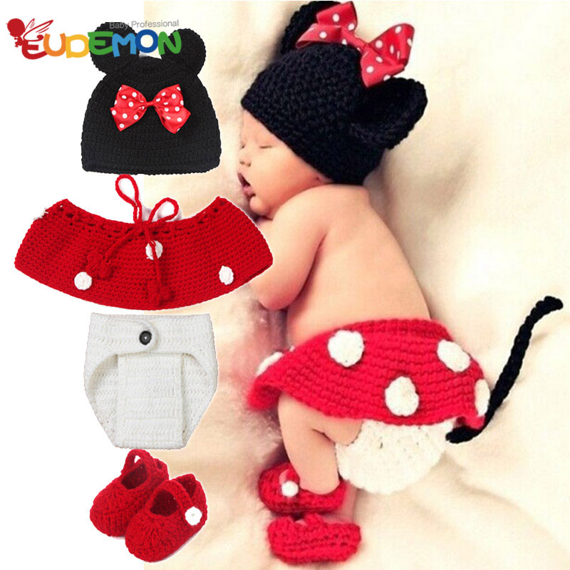 Baby Costume Photography Knitting Baby Hat Bow Bonnet Enfant Photography Baby Props Newborn Crochet Outfits newborn fotografia(China (Mainland))