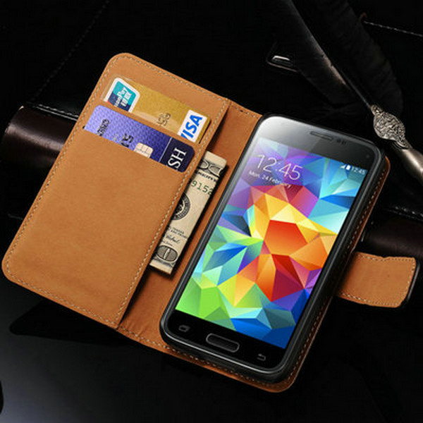 Leather Wallet Flip Case For Samsung Galaxy S5 mini Luxury Phone Cover With Stand Display 2 Card Holders Coque Black For S5 Mini(China (Mainland))