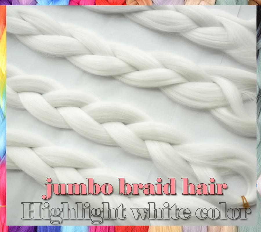 5packs/lot 24inch hightlight white color Kanekalon X-Pression Braiding Hair Extensions Synthetic jumbo Braid Hair For Box Braid<br><br>Aliexpress