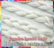 5packs/lot 24inch hightlight white color Kanekalon X-Pression Braiding Hair Extensions Synthetic jumbo Braid Hair For Box Braid