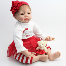 Buy 22 Inch 50cm Doll Reborn Realistic Silicone Baby Doll Reborn Baby Doll Soft Vinyl Silicone Lifelike Newborn Baby Girl Gift