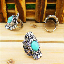Vintage Look Tibet Antique Silver Alloy Retro Craft Curved Flower Adjustable Turquoise Rings TR77