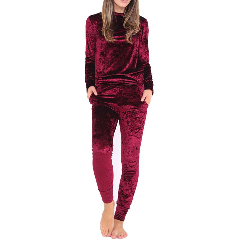 2017 Fashion European And American Two Piece Set Women Suit Winter Sexy Velvet Tracksuit Long Sleeve Top +Stretch Pants Bodysuit(China (Mainland))