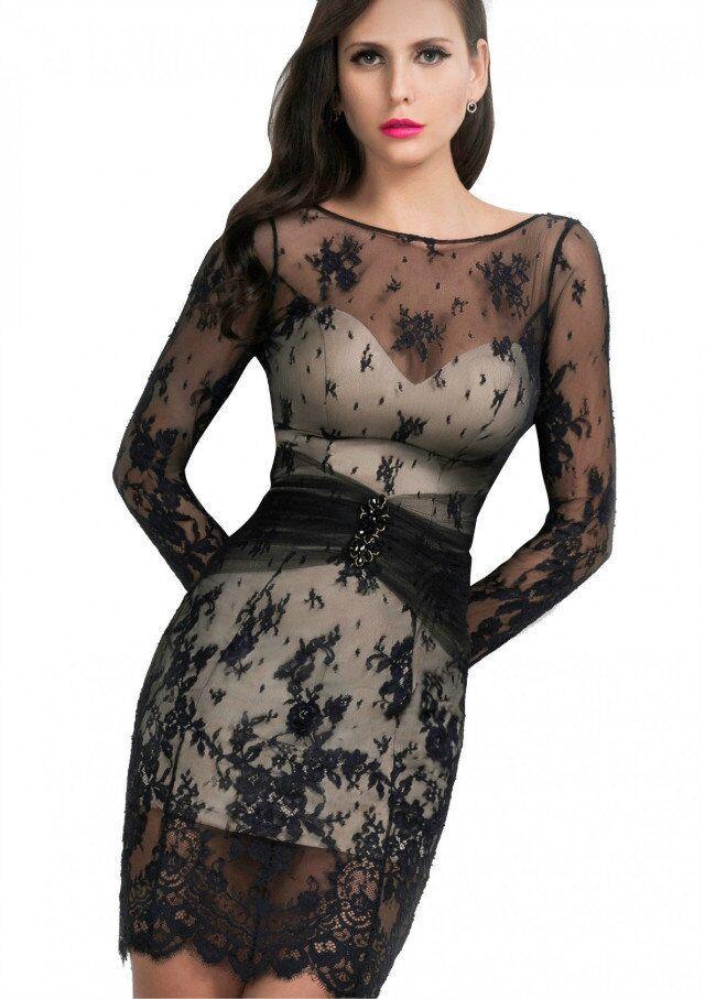 Платья из темного кружева