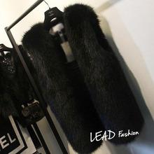 Plus Size 5XL 6XL White Black Women's Faux Fur Gilet Coat  Rabbit Mink Fox Fur Vest Medium-long V-Neck Fur Waistcoats Jacket(China (Mainland))
