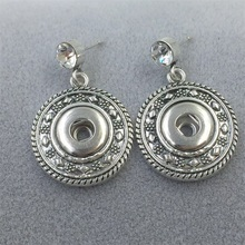 FHER08 Vintage Style Fashion Wholesale Round Style 25mm Zinc Alloy Snap Button Drop Earrings(China (Mainland))