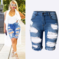 Plus size Women s Sexy Ripped Hole Washed Distressed Midi Short Jeans Hight Waist Slim Stretchy