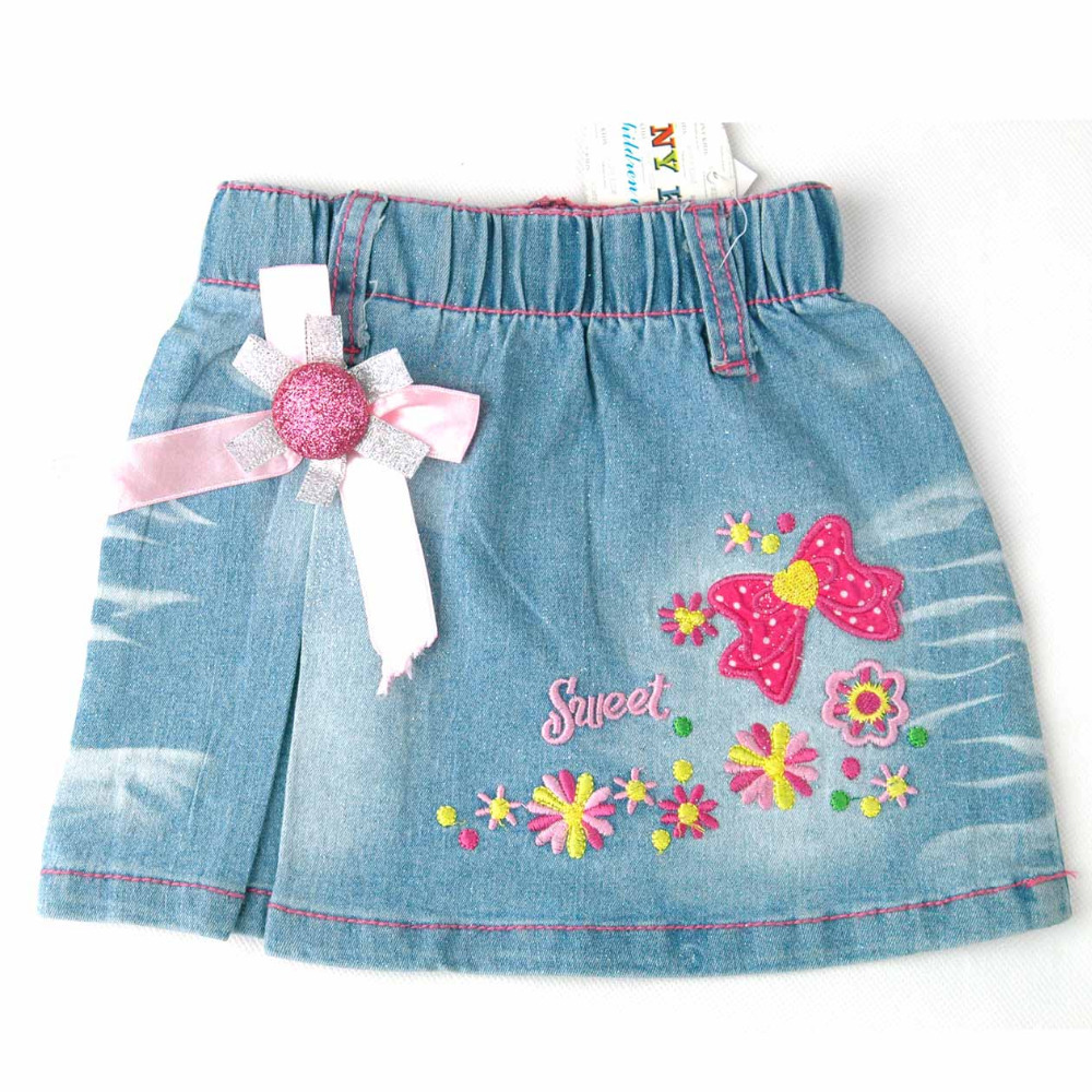 Kid girl children's summer rosette trims and flowers sweet letters embroidery denim jean mini skirt Free shipping! 2015 (MHS1)(China (Mainland))