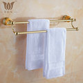 62 Jade Series Golden Polish Copper With Jade Double Towel Bar Continental Bathroom Accessories Towel Rack