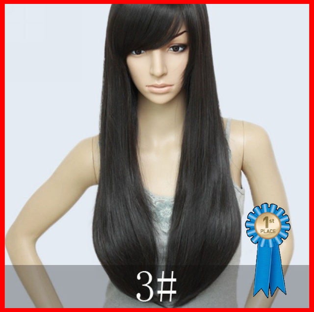 Natural black,Hi-quality Brazian Blended hair,26inch 200G Silky Straight Cheap Full Wigs,free shipping