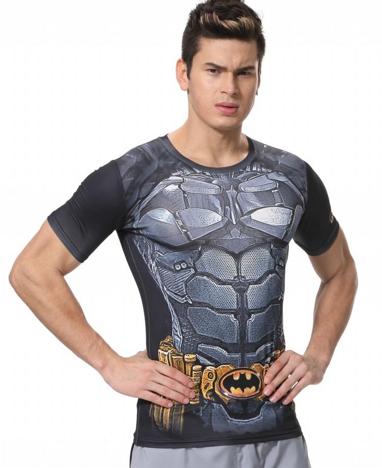 Red Plume Men's Compression Tight Fitness Shirt, Superman Batman Armor Sports T-shirt(China (Mainland))
