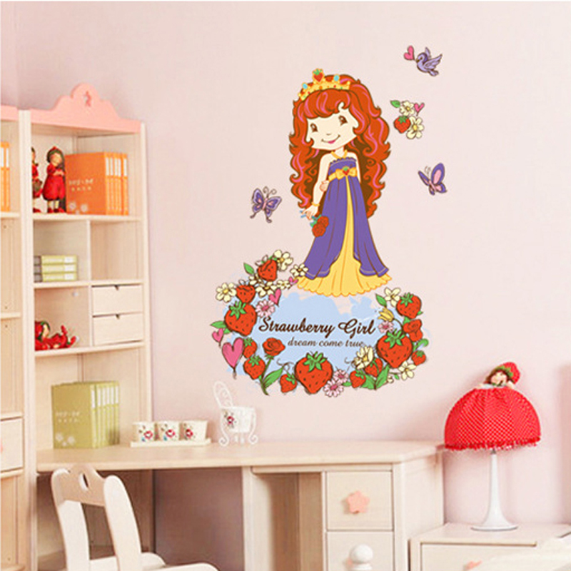 1pcs Cartoon Strawberry Princess Wall Stickers Living Room Bedroom Home Accessories Vinyl Decals Mural Poster vinilos paredes(China (Mainland))