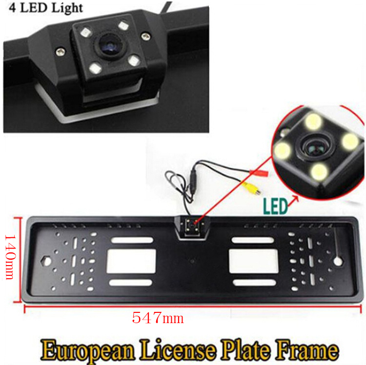 2015 New Arrival EU Russia Car License Plate Frame Rear View Camera For European Cars With 4 IR Light + Waterproof PC1015(China (Mainland))