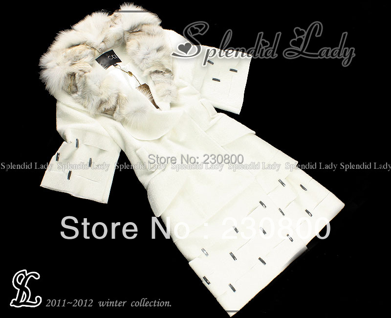 2014 winter coat women runway white faux fur fox mink hair neck long overcoat outerwear sobretudos femininos casacos - shirley chan's store