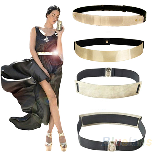 Fashion Women's Waist Band Elastic Mirror Metal Belt Leather Metallic Bling Gold Plate Wide Obi 3 Models 05A3 - Cool Trendy Cheap store