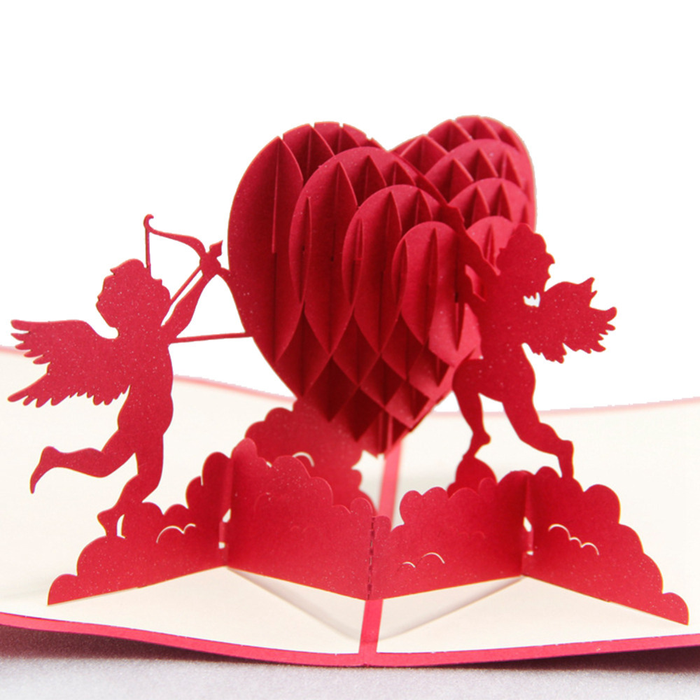 3D Cupids With Hearts Valentines Day Handmade 3D Greeting Cards POP Up Cards 10pcs Free Shipping<br><br>Aliexpress