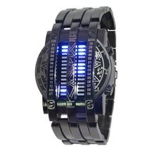 Acero inoxidable del envío gratis relojes deportivos de marca para hombre y mujeres rojo azul LED digital watch militar reloj