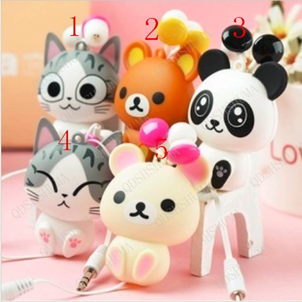 cheese cat cartoon automatic retractable earphones for mobile phone computer cartoon earphones in ear headphone special gift(China (Mainland))