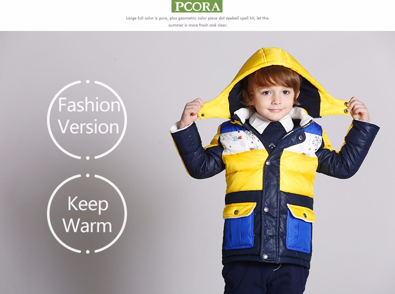 PCORA Kids Boys Down Coats Winter Thick Warm Hooded Parkas&Jackets Outerwear High Quality Brand Children Clothes
