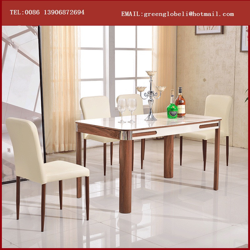 Tempered Glass Dining Table Wooden Material And Dining Table Specific Use Woo