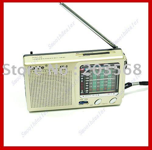 F98+Free shipping! Pocket Radio Compact Kaide KK-9 TV FM AM SW1-7 Receiver(China (Mainland))
