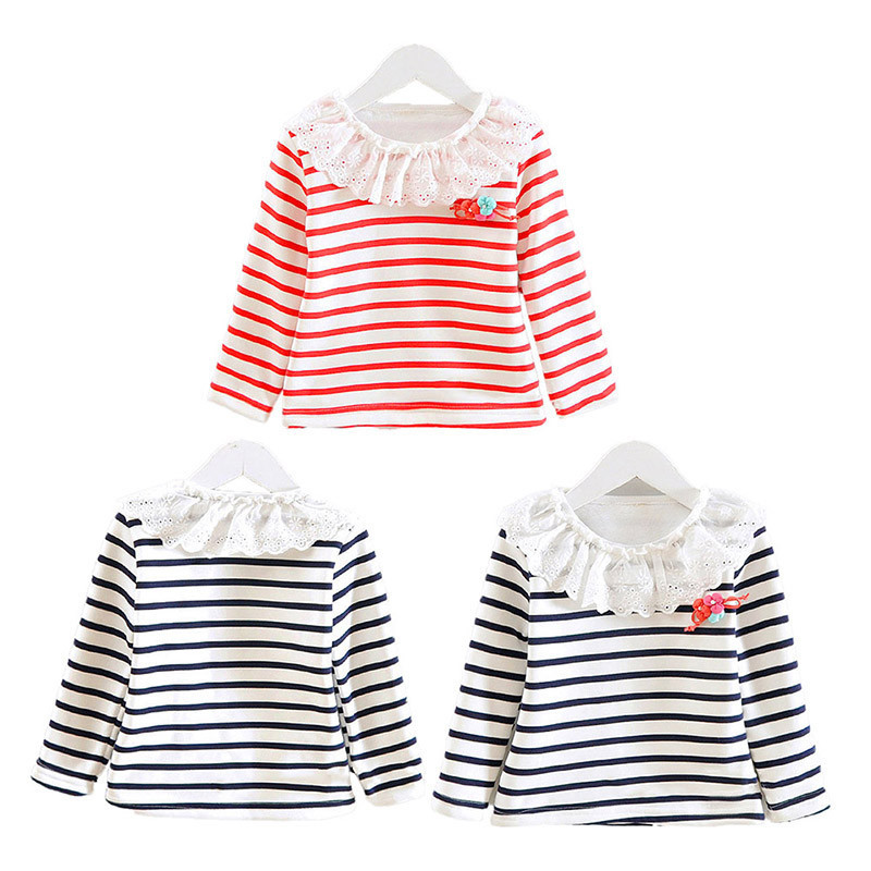 Baby Girls Striped Tops Blouse Cozy Flower Neck Inner Shirt Toddler Kid T-Shirts clothing