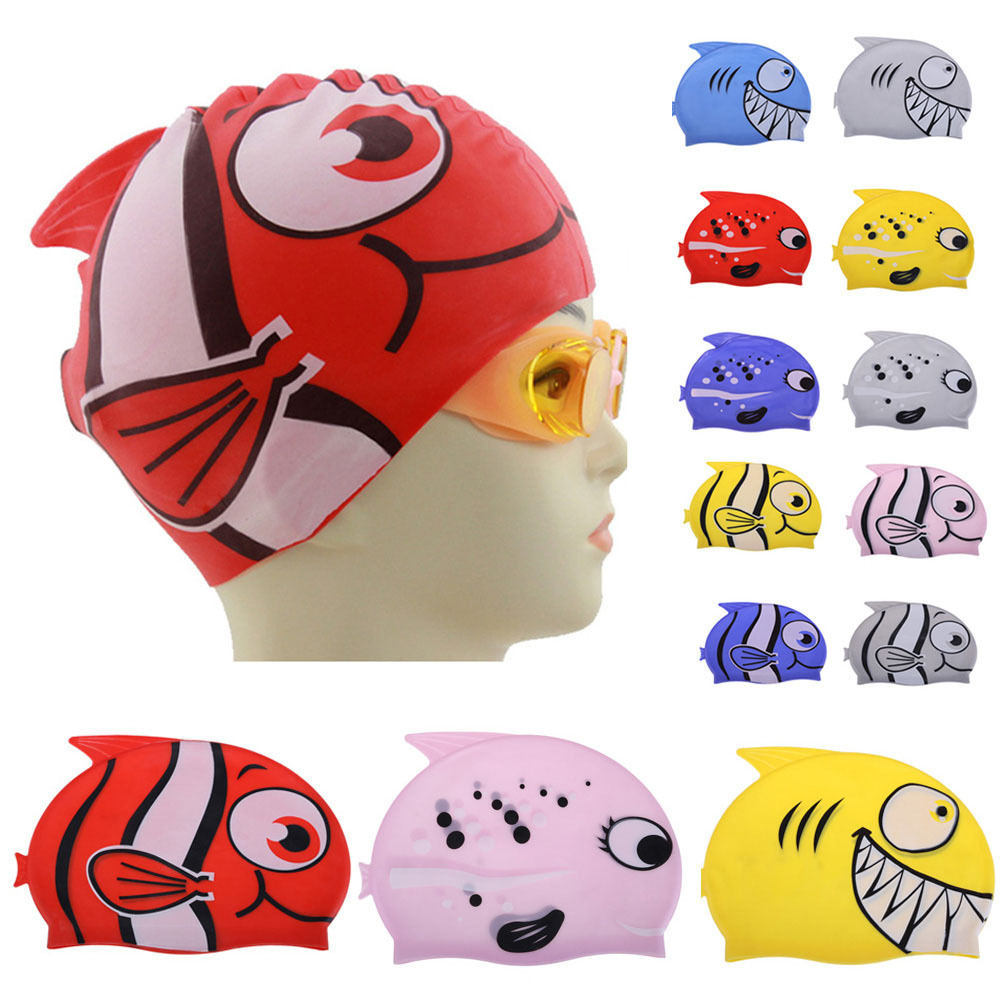 Free Shipping # Cute Children Cartoon Swimming Cap Silicon Diving Waterproof Fish Shark Gift for Children(China (Mainland))