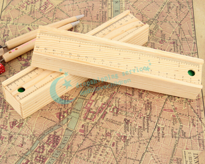 Stationery Office Study Supplies Wood Ruler Pencil Box Pull Type Wooden Stationery Holder Storage Box Pencil Case Free Shipping(China (Mainland))