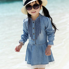 2016 Retro Kids Baby Girls Lace Jeans Long Sleeve Princess Denim Dress